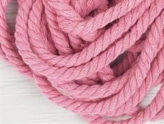 Шнур крученый, 100% хлопок, 8мм, розовый