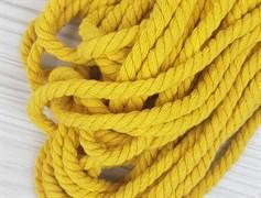 Шнур крученый, 100% хлопок, 8мм, желтый