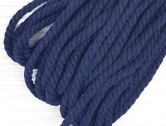 Шнур крученый, 100% хлопок, 8мм, темно-синий