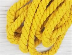 Шнур крученый, 100% хлопок, 15мм, желтый