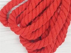 Шнур крученый, 100% хлопок, 15мм, красный