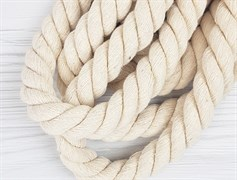 Шнур крученый, 100% хлопок, 25мм, натуральный