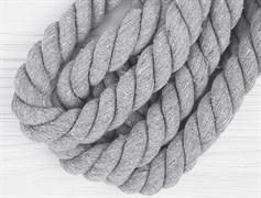 Шнур крученый, 100% хлопок, 25мм, светло-серый