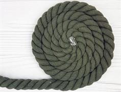 Шнур крученый, 100% хлопок, 25мм, хаки - фото 12869