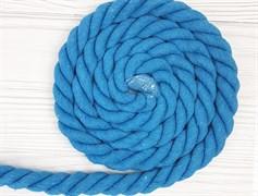 Шнур крученый, 100% хлопок, 25мм, голубой - фото 12871