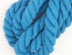 Шнур крученый, 100% хлопок, 25мм, голубой