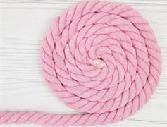 Шнур крученый, 100% хлопок, 25мм, розовый - фото 12879