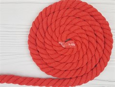 Шнур крученый, 100% хлопок, 25мм, красный - фото 12881