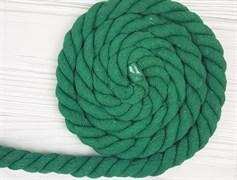 Шнур крученый, 100% хлопок, 25мм, зеленая трава - фото 12885