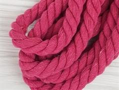 Шнур крученый, 100% хлопок, 15мм, ярко-розовый