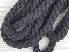 Шнур крученый, 100% хлопок, 15мм, темно-серый