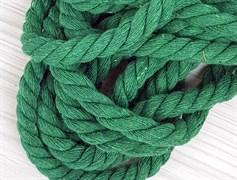 Шнур крученый, 100% хлопок, 10мм, зеленая трава