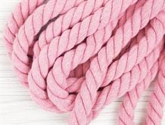 Шнур крученый, 100% хлопок, 15мм, розовый