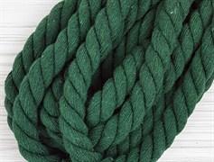 Шнур крученый, 100% хлопок, 15мм, темно-зеленый