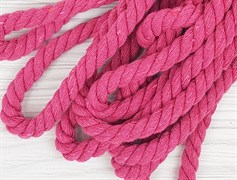 Шнур крученый, 100% хлопок, 10мм, ярко-розовый