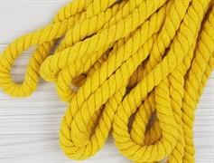 Шнур крученый, 100% хлопок, 10мм, желтый