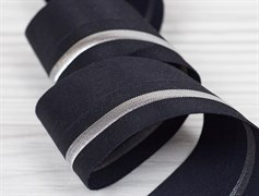 Резинка окантовочная с перегибом, черный + серебро, 40мм
