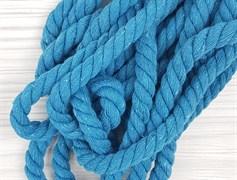 Шнур крученый, 100% хлопок, 10мм, голубой