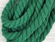Шнур крученый, 100% хлопок, 15мм, зеленая трава