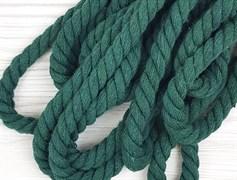 Шнур крученый, 100% хлопок, 10мм, темно-зеленый
