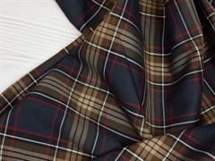Костюмная ткань FANCY КЛЕТКА, Черно- коричневая