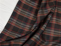Костюмная ткань FANCY Клетка, Серо-бордовая
