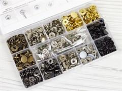 Кнопки Альфа 12,5мм - 140шт (8 цветов) + инструменты в боксе - фото 13200