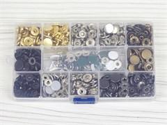 Кнопки Альфа 12,5мм - 140шт (8 цветов) + инструменты в боксе - фото 13202