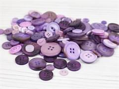 Набор пуговиц микс 300гр,  размер 1-3см, фиолетовый