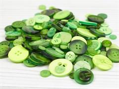 Набор пуговиц микс 300гр,  размер 1-3см, светло-зеленый