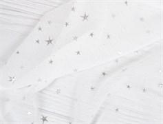 Шифон белый со звездами серебро