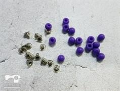 Бусины с креплением, фиолетовый 6мм