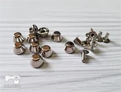 Конусы с креплением, серебро 10мм