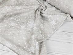 Футер 2х-нитка, Снежинки на бежевом фоне - фото 7659