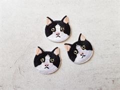 Аппликация термоклеевая, Черно-белый кот