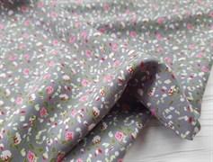 Штапель, Мелкие цветочки (розовые на сером) - фото 8443