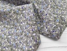 Штапель, Мелкие цветочки (голубые на сером) - фото 8447