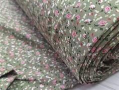 Штапель, Мелкие цветочки на зеленом - фото 8461